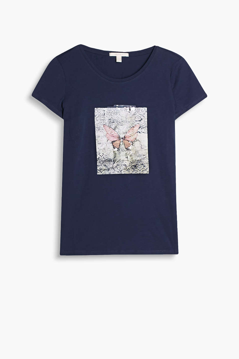 Round neck T-shirt with a natural front print