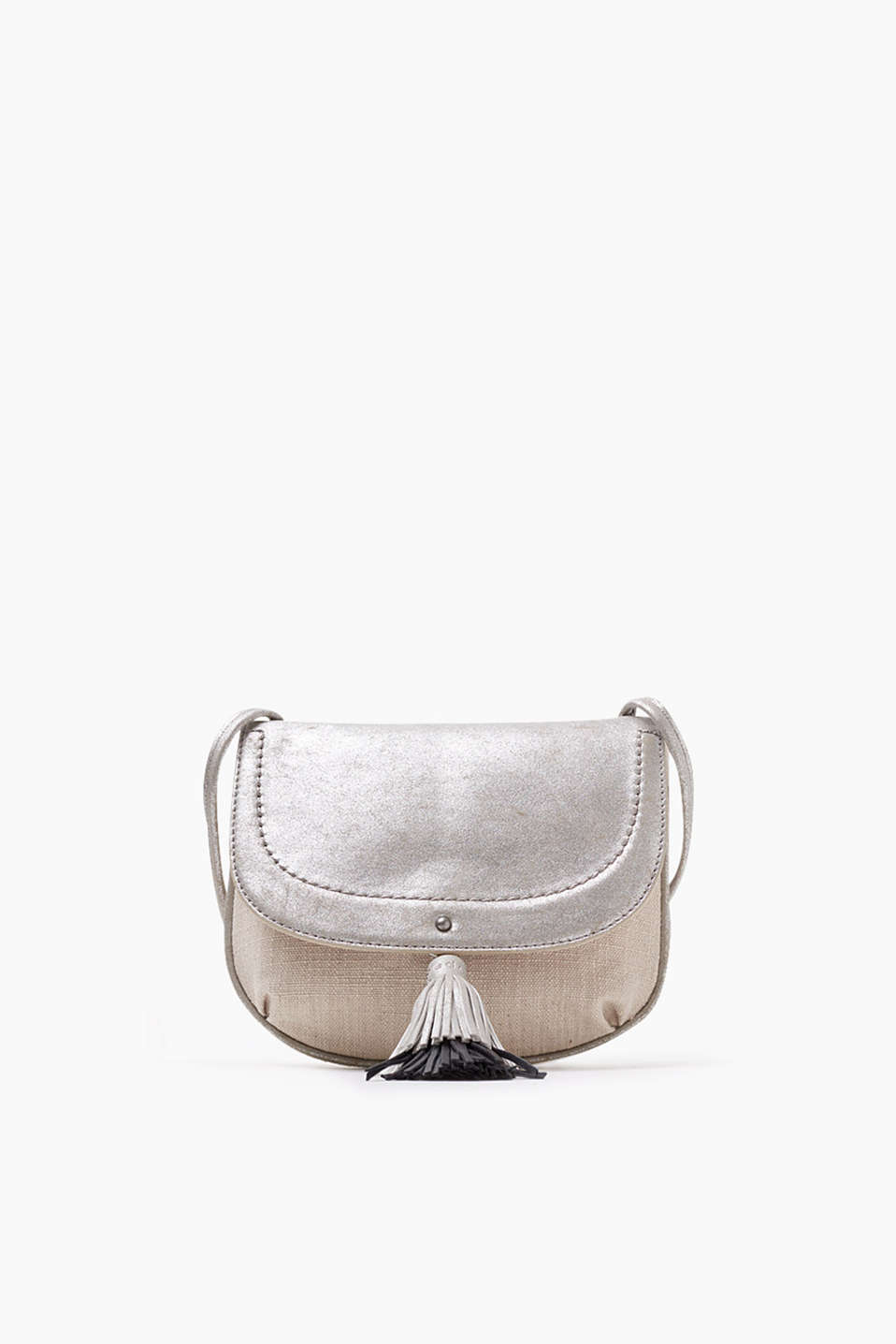 Summery shoulder bag in an elegant material mix with two-tone tassels