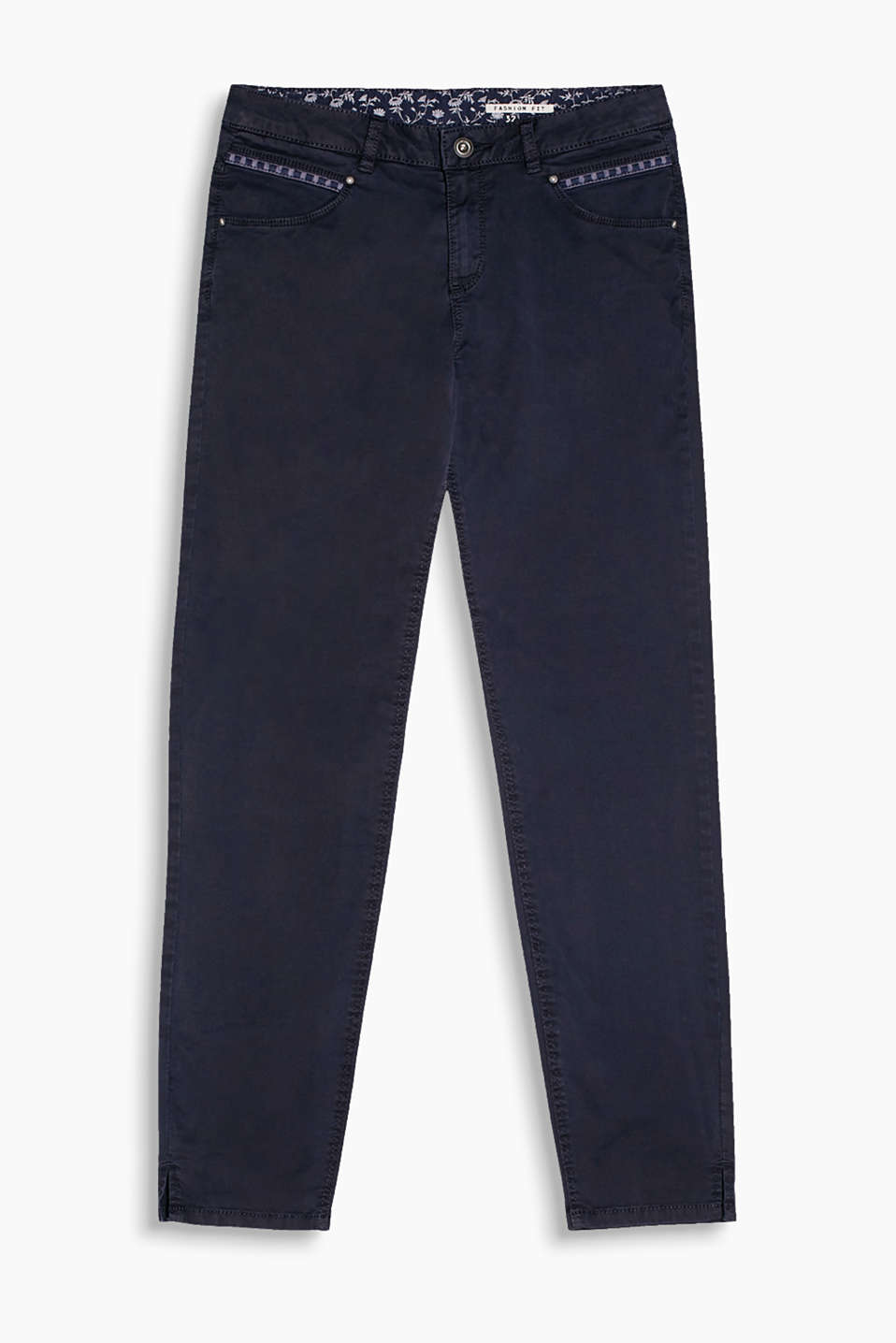 Five-pocket trousers in a garment-washed look with embroidered front pockets