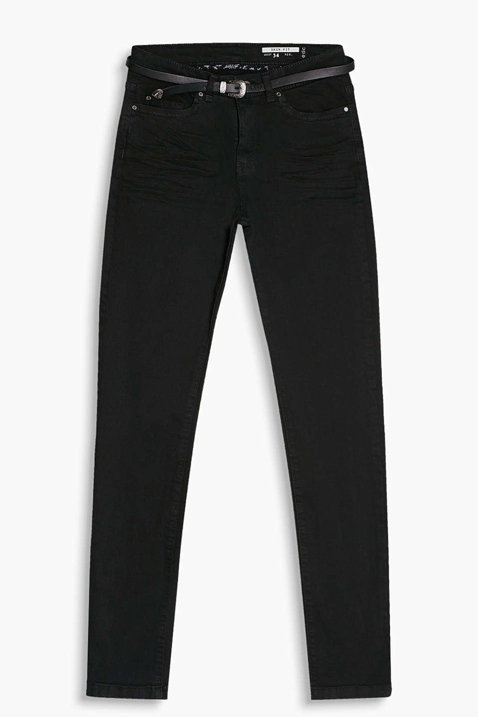Five pocket trousers in stretch cotton with a Western style belt