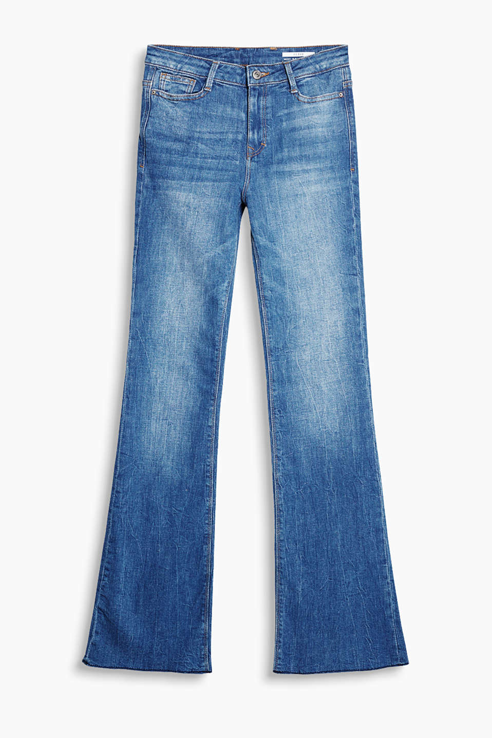 These jeans have authentic, garment-washed effects and are in a stylish flared look