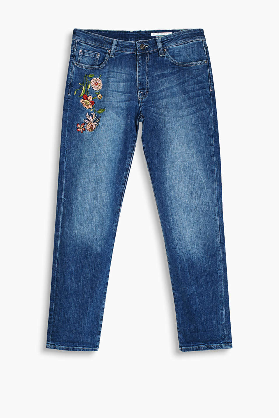 Elaborately embroidered, boyfriend jeans with an authentic, washed finish