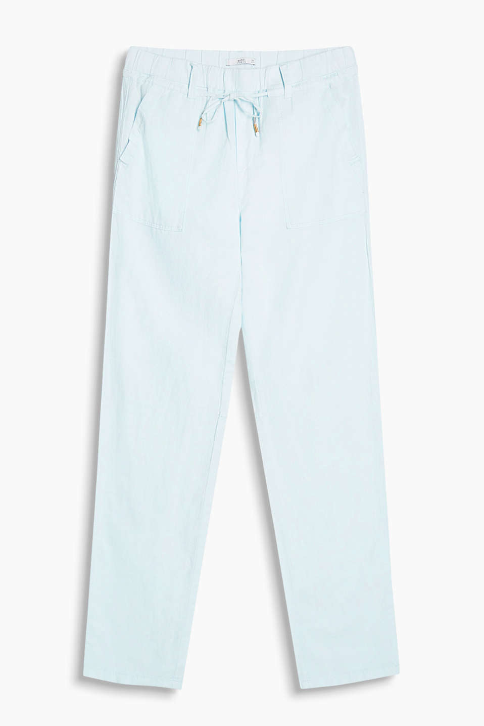 Linen blend tracksuit bottoms with a wide elasticated waistband and patch pockets at the hips
