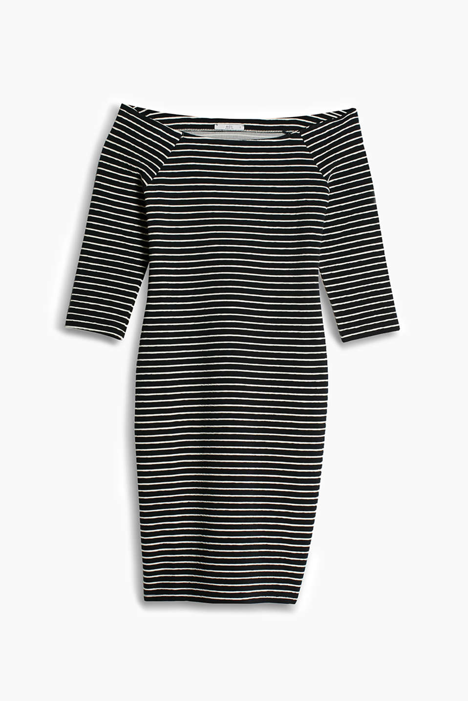 Sea ahoy! Off-the-shoulder dress made of dense stretch jersey with nautical textured stripes