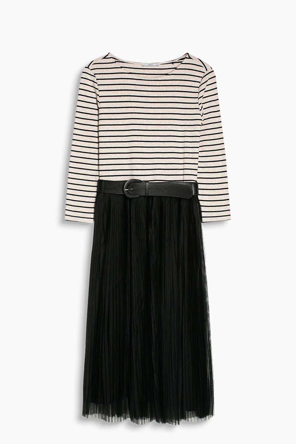 Midi dress with a striped top made of stretch jersey and a pleated tulle skirt