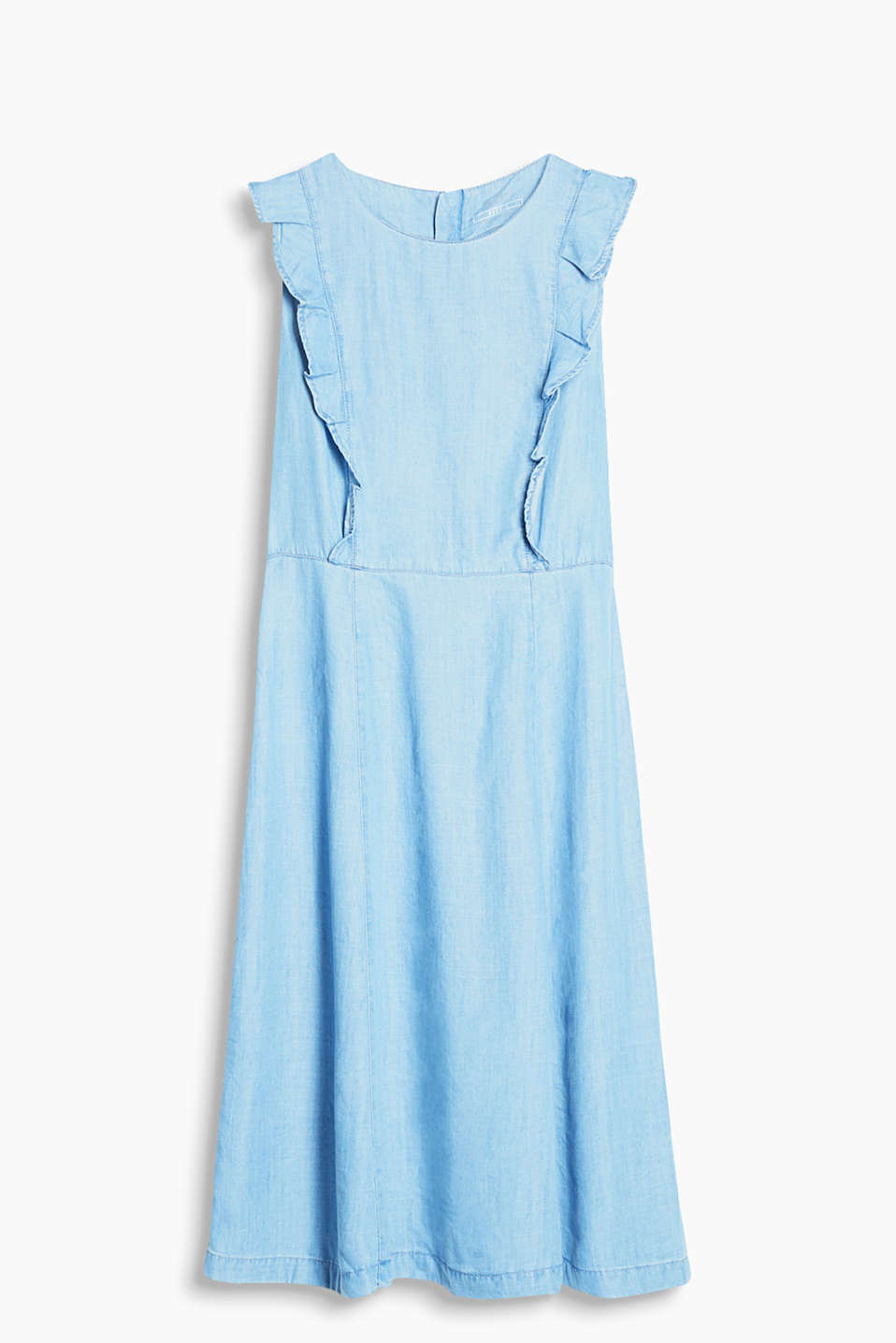Flowing dress in a denim look with playful frills