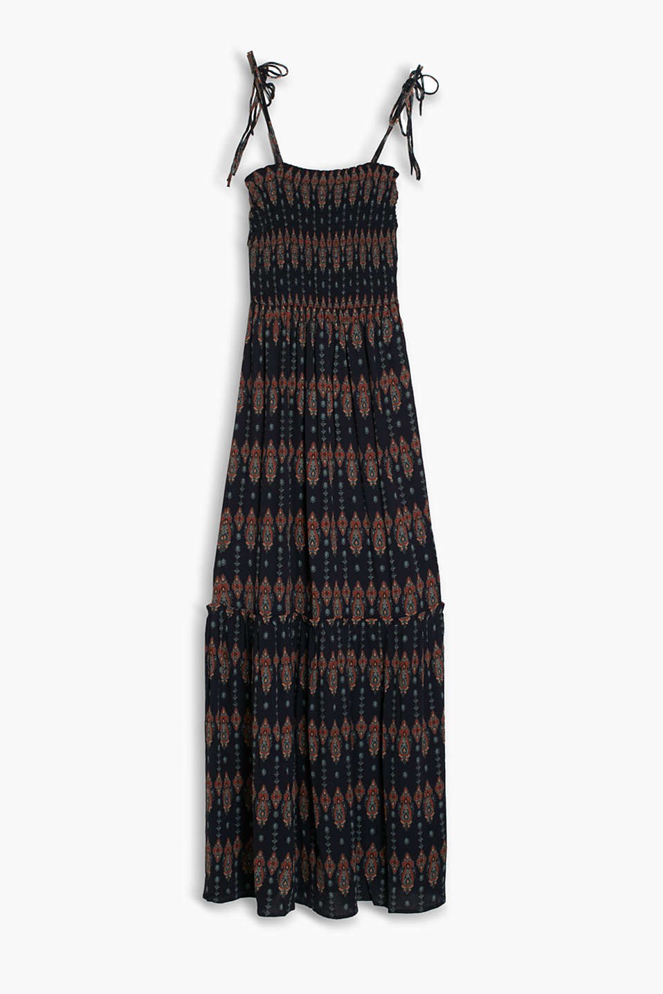 Smocked maxi dress in printed, crushed fabric with adjustable spaghetti straps