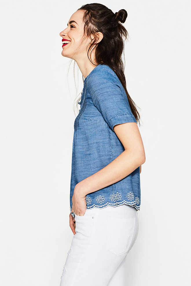 EDC / Fließende Bluse in Denim-Optik