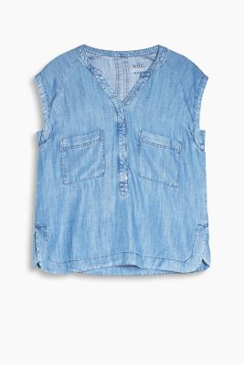 Henley-Bluse in Denim-Optik