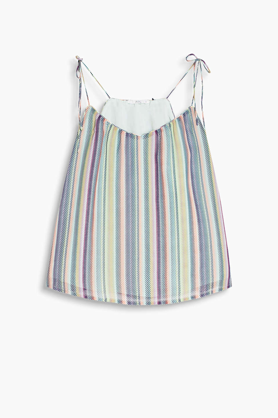 Delicate spaghetti strap top with multicoloured stripes and dainty ties