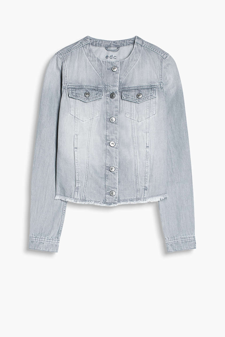 Grey denim jacket with a round neckline and frayed hem, 100% cotton