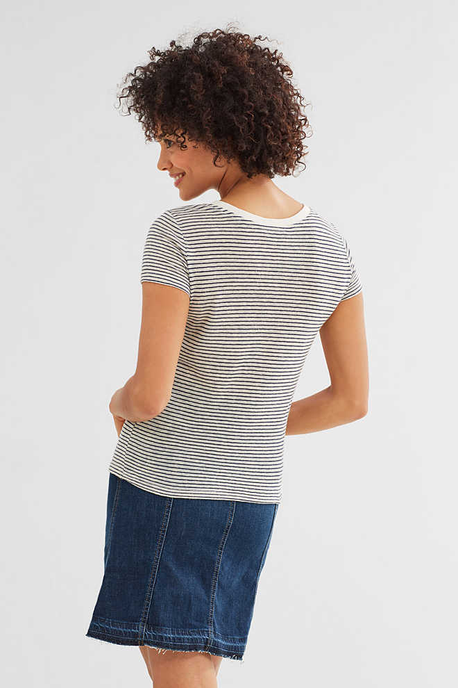EDC / Striped artwork T-shirt with linen
