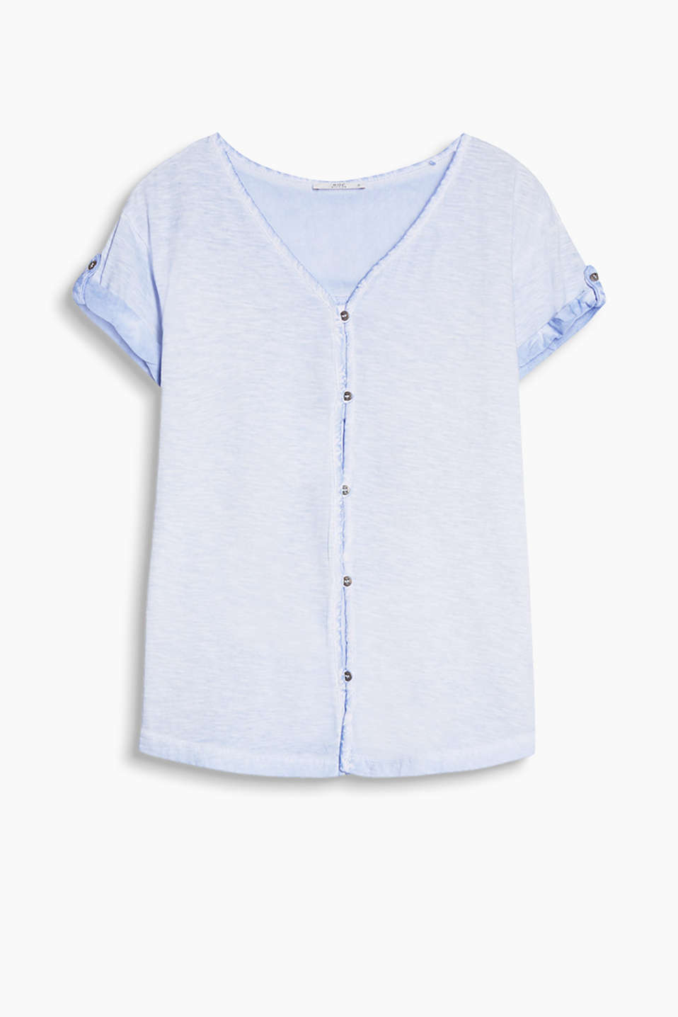Casual top in yarn-dyed slub jersey with fabric details and a loop button placket