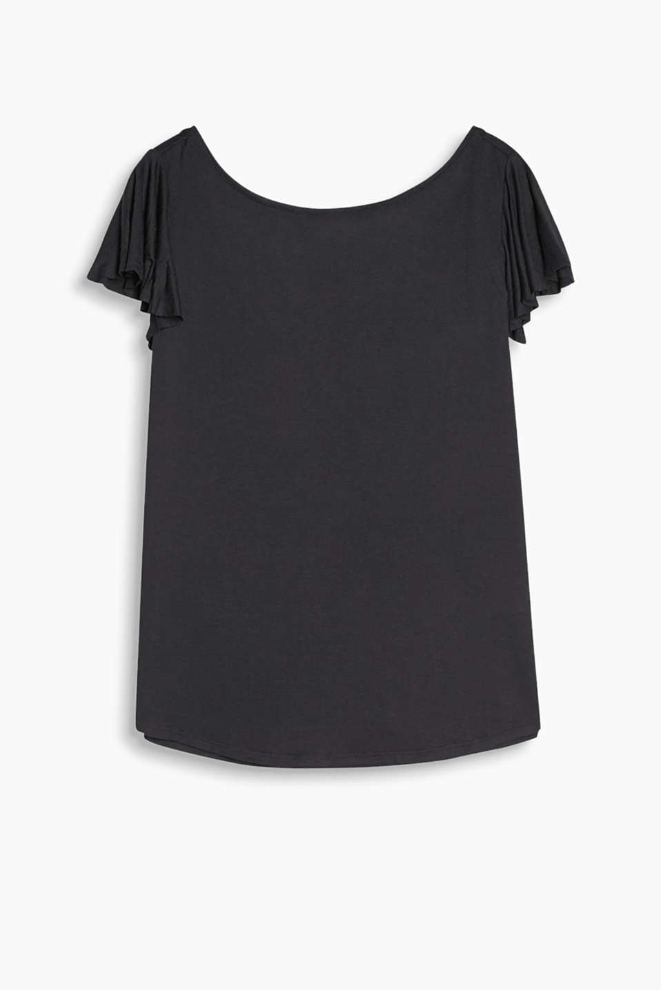 Floaty T-shirt with a beautiful back neckline and feminine flounce sleeves
