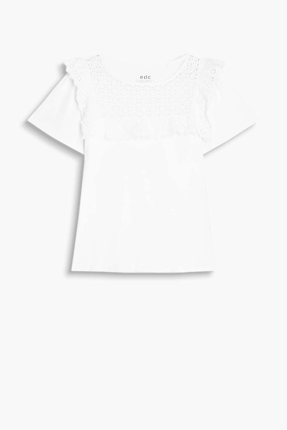 T-shirt in fine cotton jersey with flounces