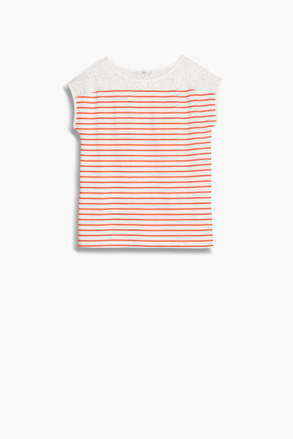 Nautical stripes meet feminine lace: loose jersey top with cut-on sleeves