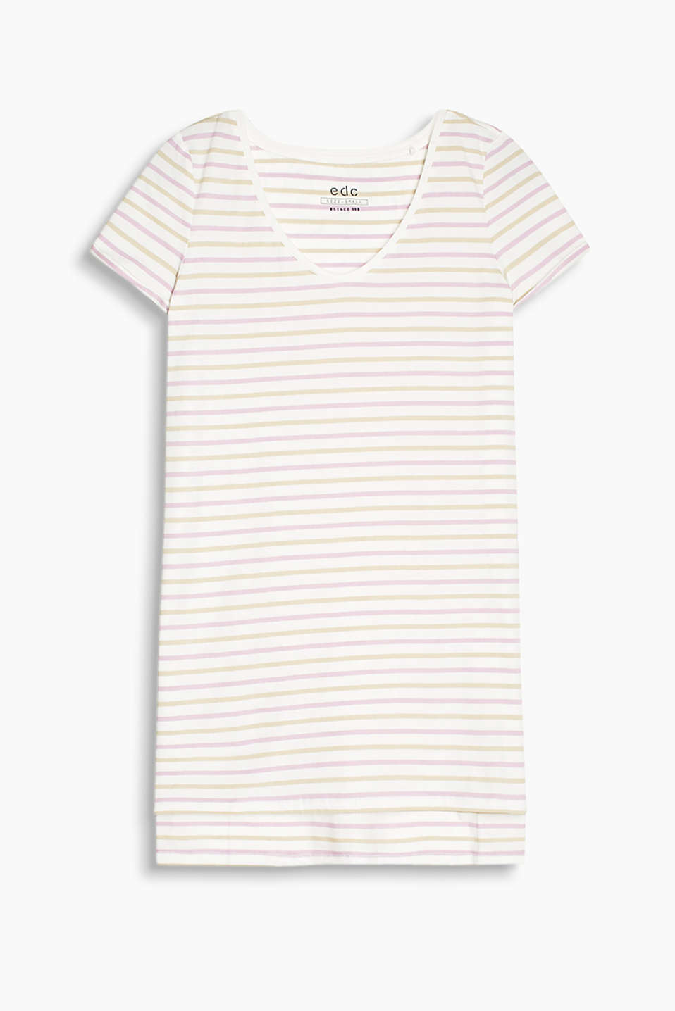 Long, striped T-shirt made of stretchy cotton-jersey with a slit, high-low hem