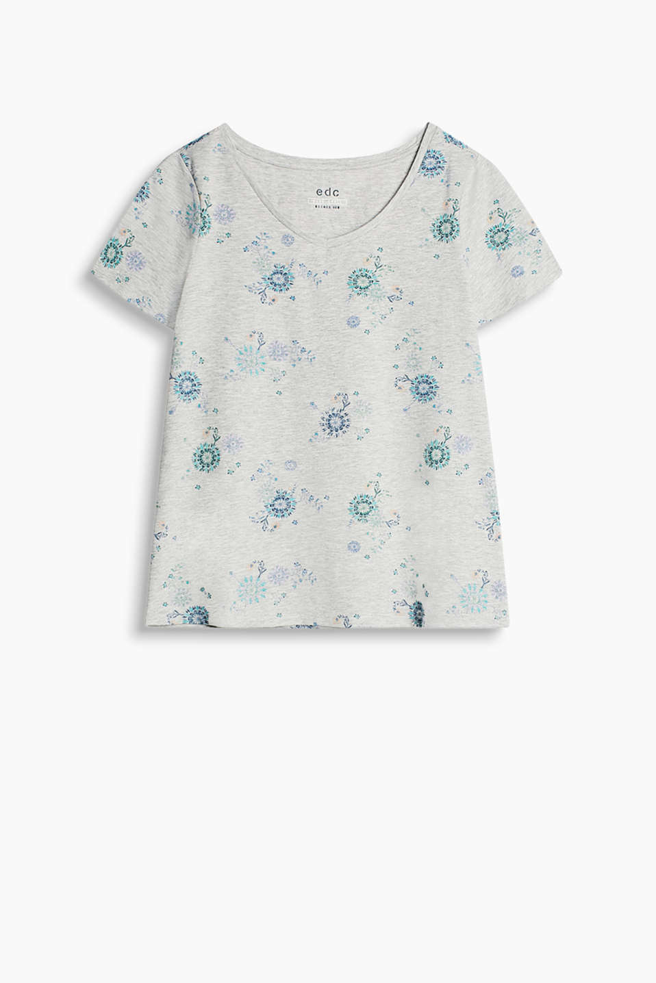 Loose, body-skimming T-shirt with a V-neckline and a floral all-over print