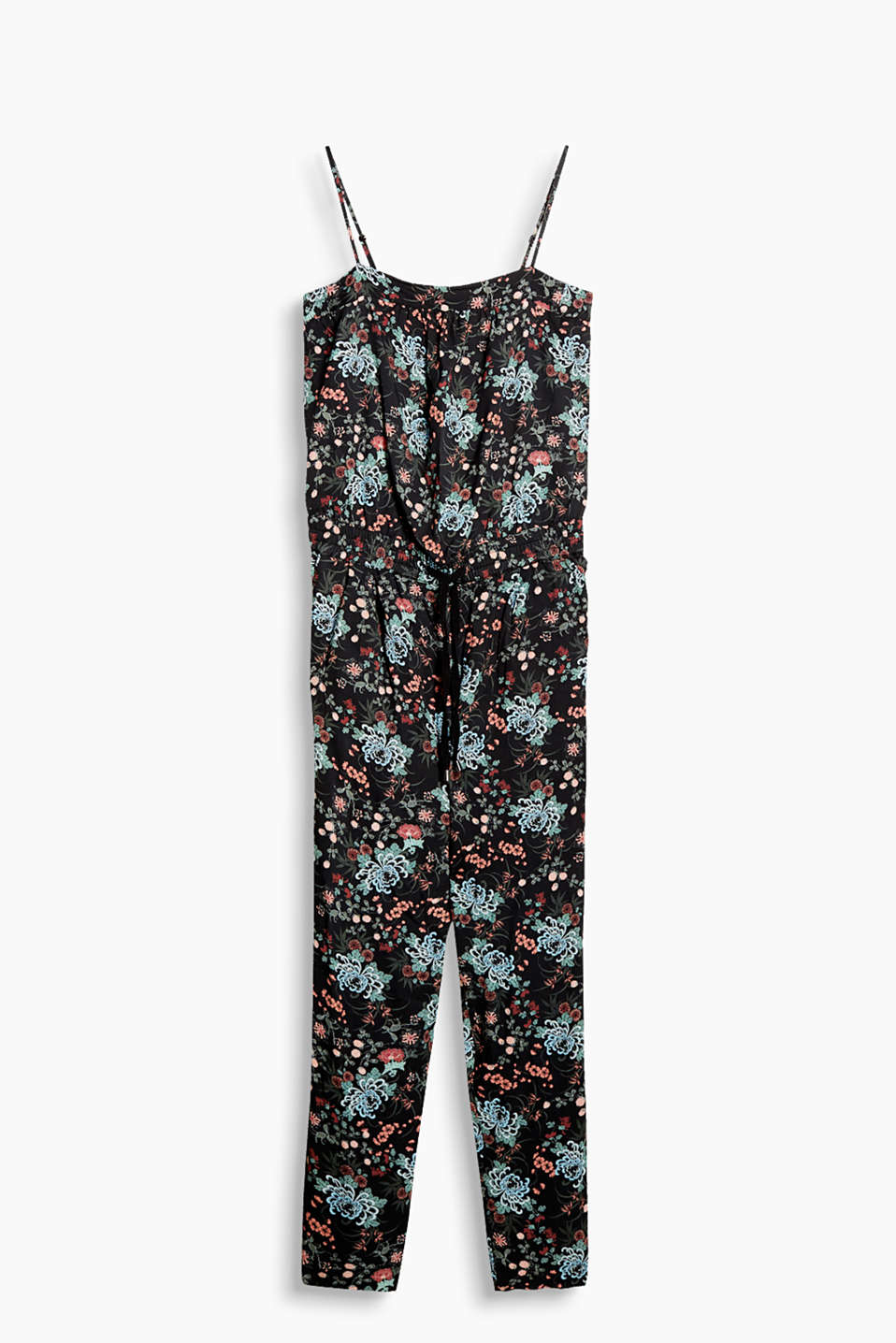 Jumpsuit in flowing fabric with a floral pattern and adjustable spaghetti straps
