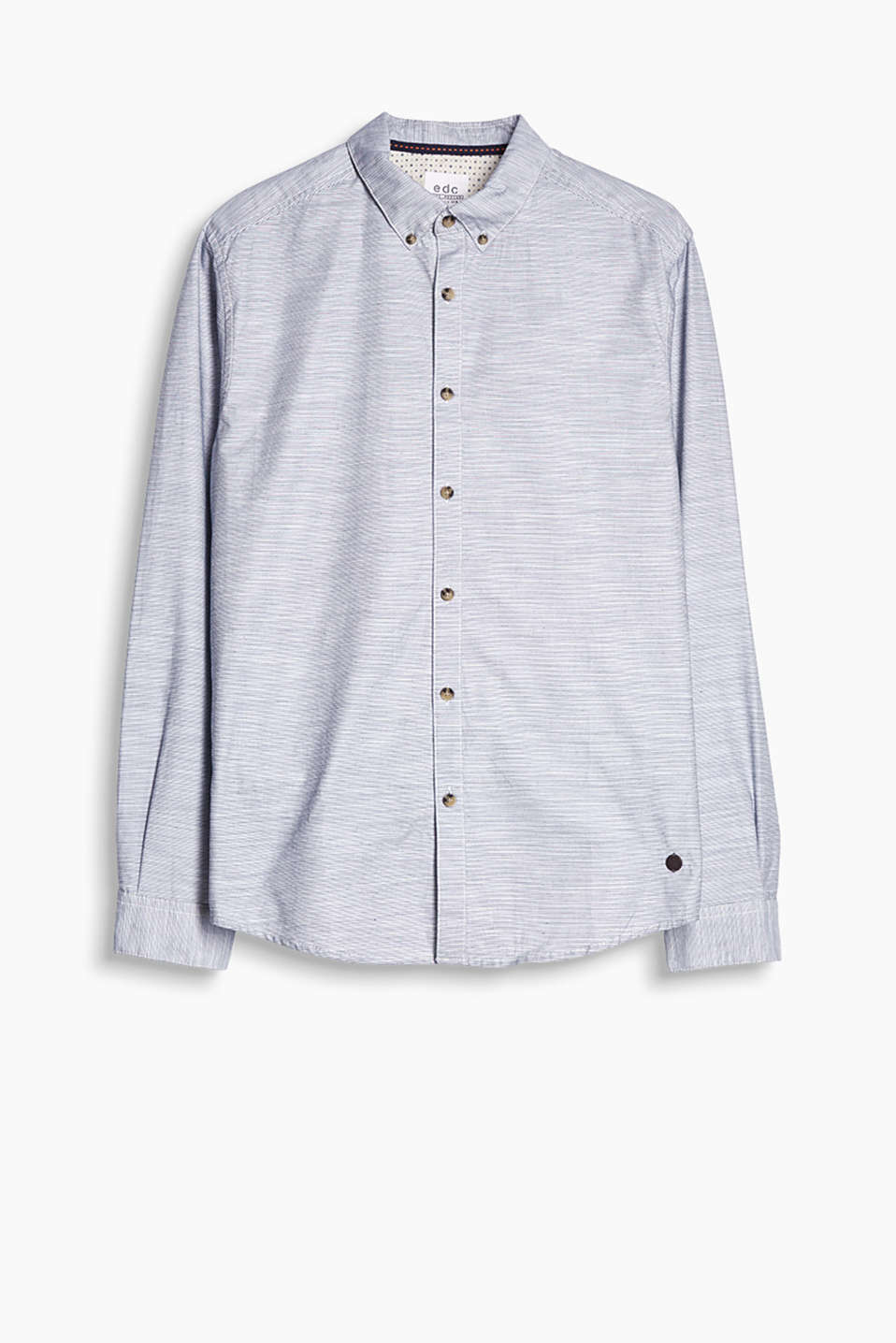 Shirt with a fine stripe pattern and a button-down collar