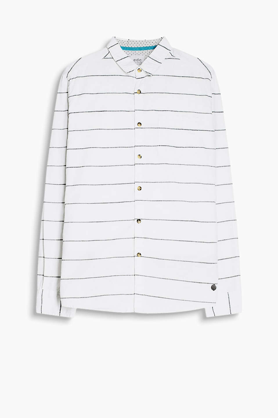 With a nautical striped pattern: shirt with a breast pocket made of cotton chambray