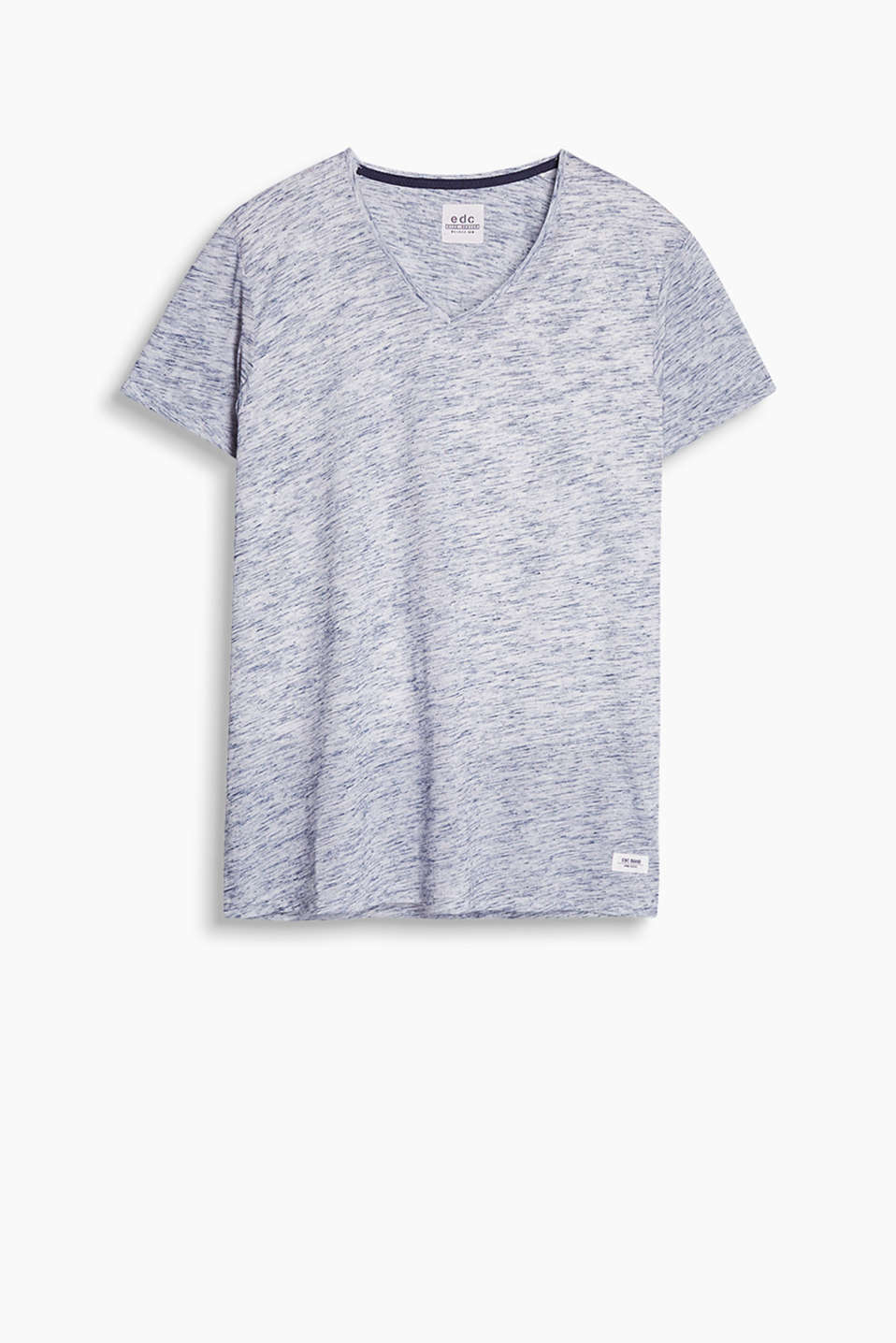 V-neck T-shirt with a coarse melange texture