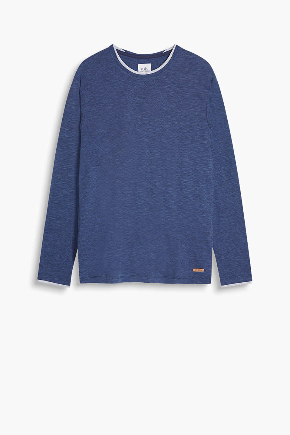 Melange long sleeve top in a layered look, made of 100% cotton