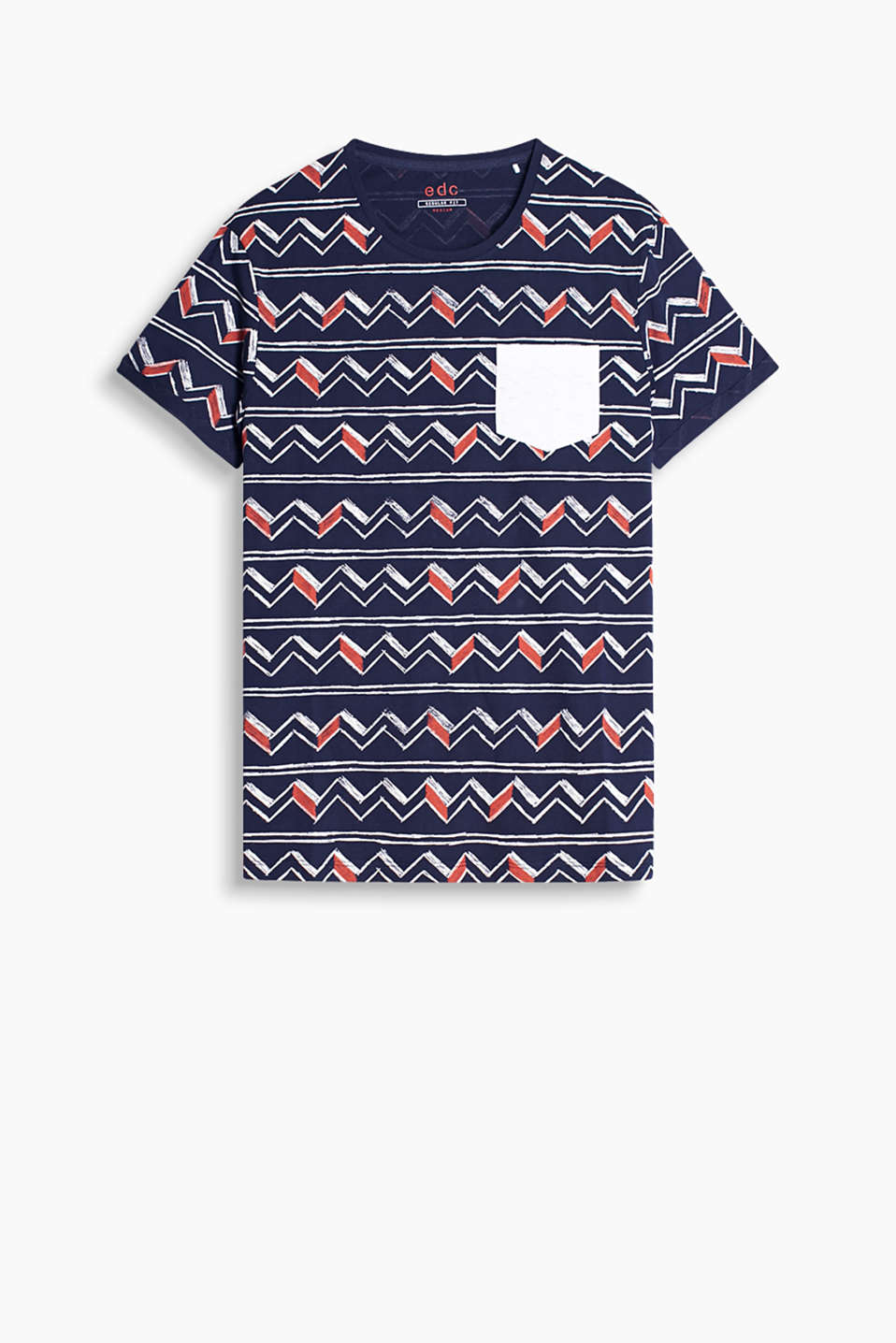 100% cotton T-shirt with an all-over print and contrasting colour breast pocket