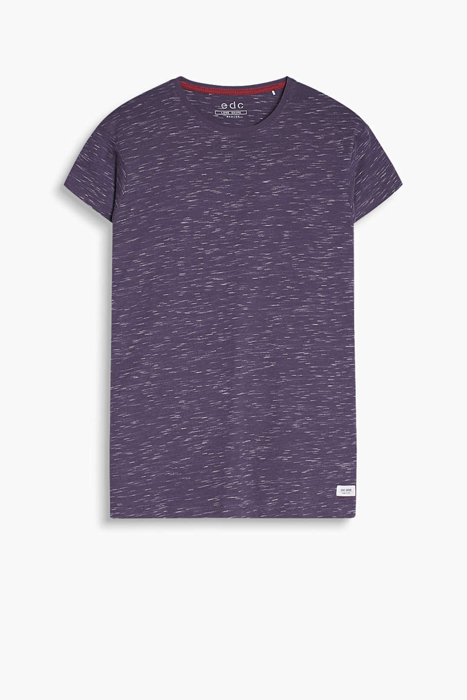 T-shirt in 100% cotton with a round neckline, melange texture and cropped sleeves