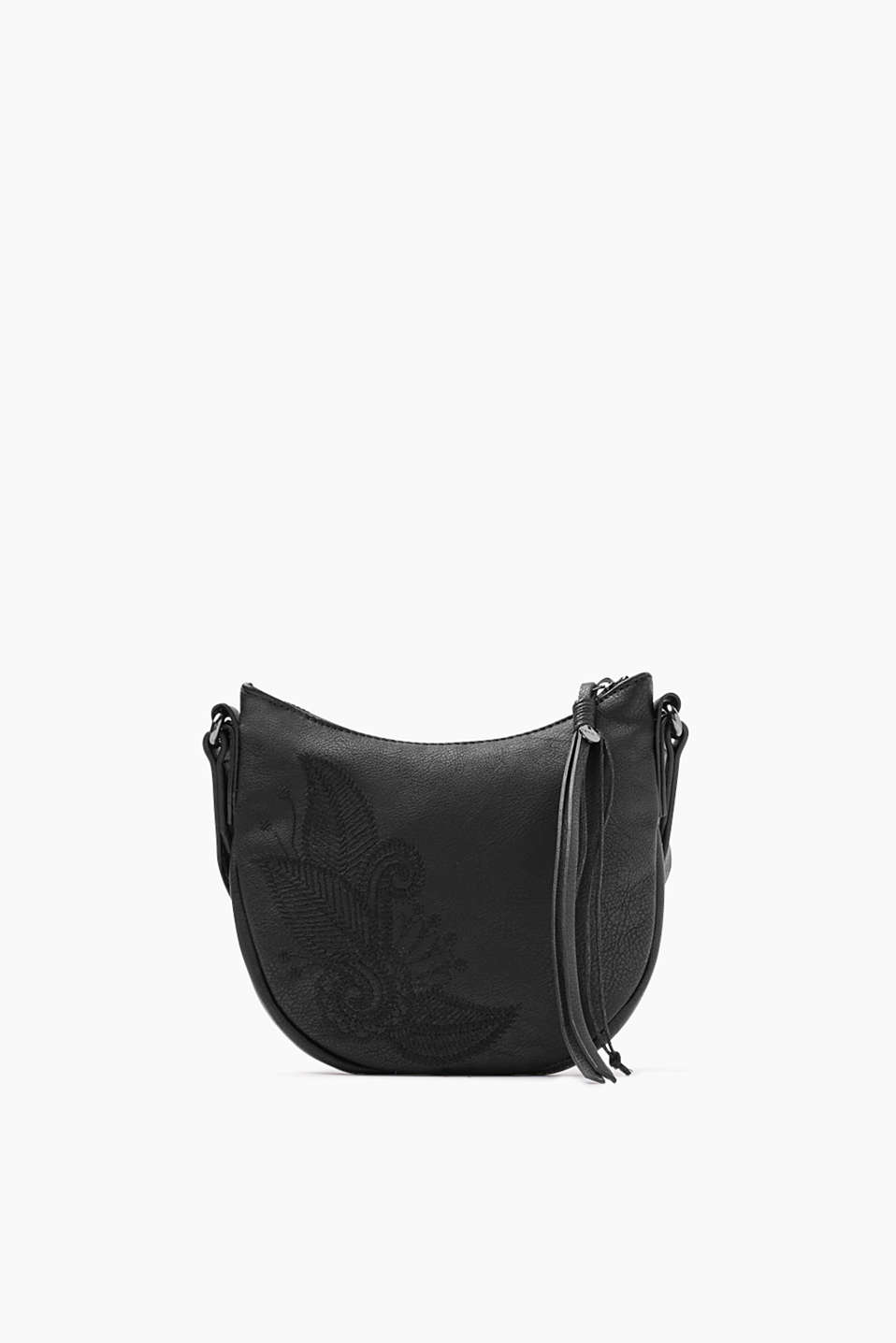 Smooth, faux leather shoulder bag with leaf-shaped, tone-in-tone stitching