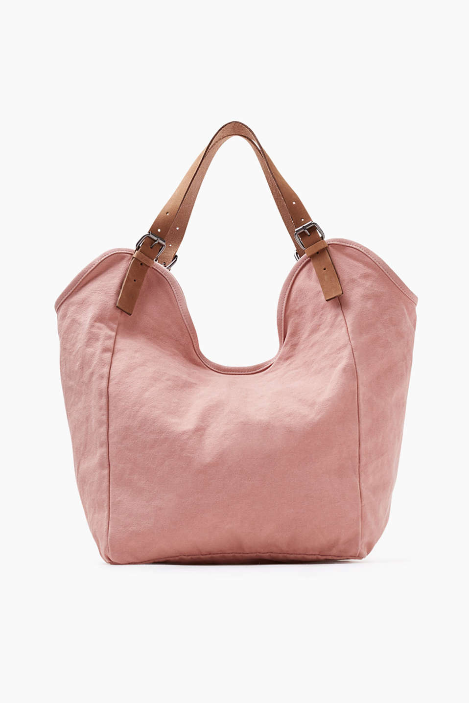 Shopper in a washed look with details in fine nubuck leather