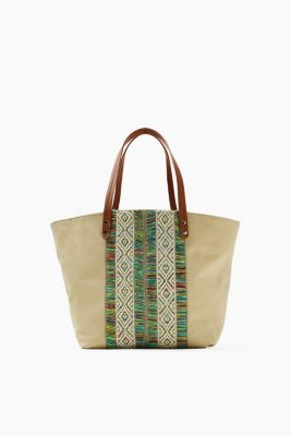 Canvas-Shopper mit Boho-Stichtings