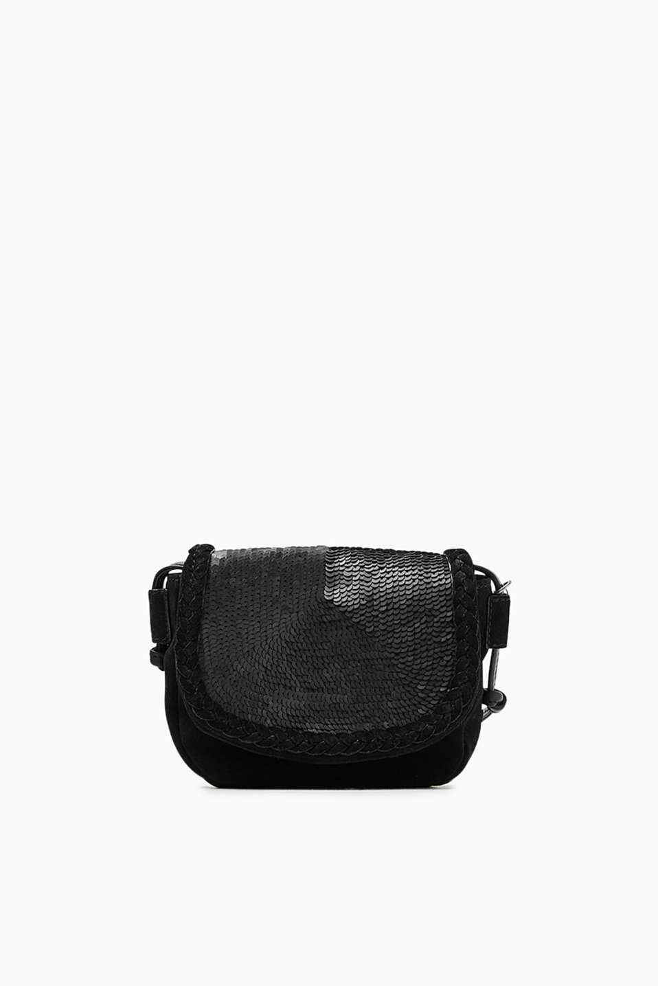 Shoulder bag trimmed with tonal sequins made of genuine cowhide leather