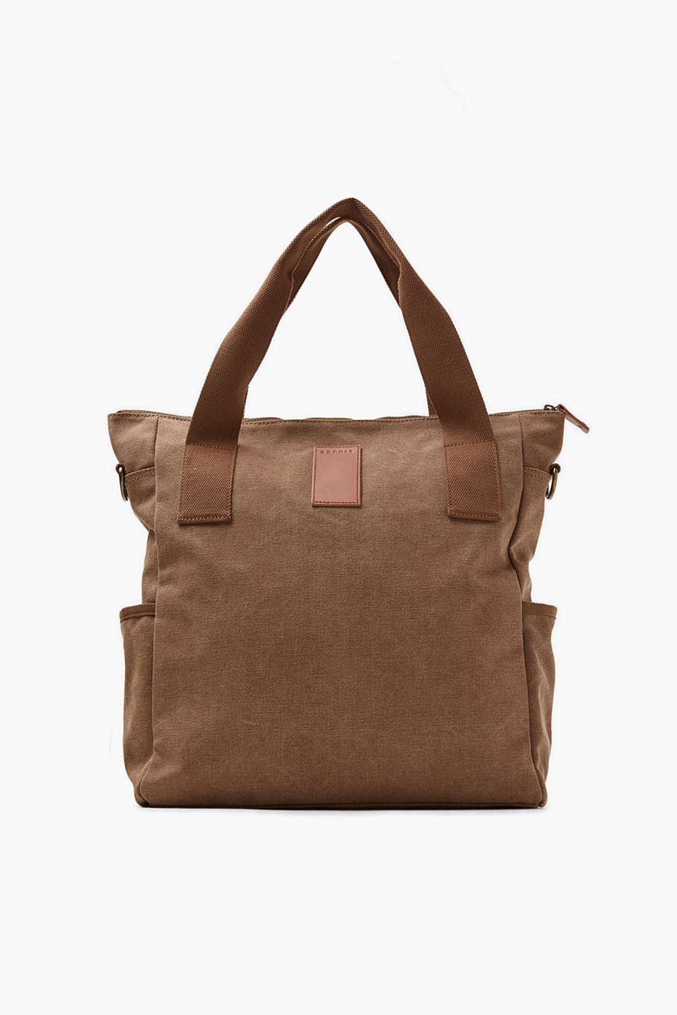 Messenger bag with shoulder pockets and leather details, in pure cotton with a washed finish