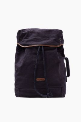 Canvas rucksack with leather detailing