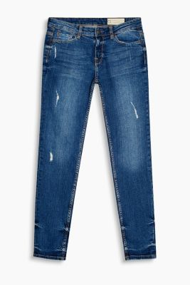 Stretch-Denim mit starken Used-Effekten