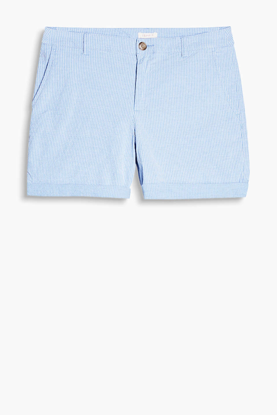 Stretch cotton shorts with textured stripes