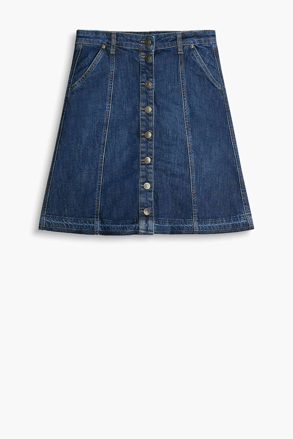 Flared denim skirt with a button placket and fashionably frayed hem