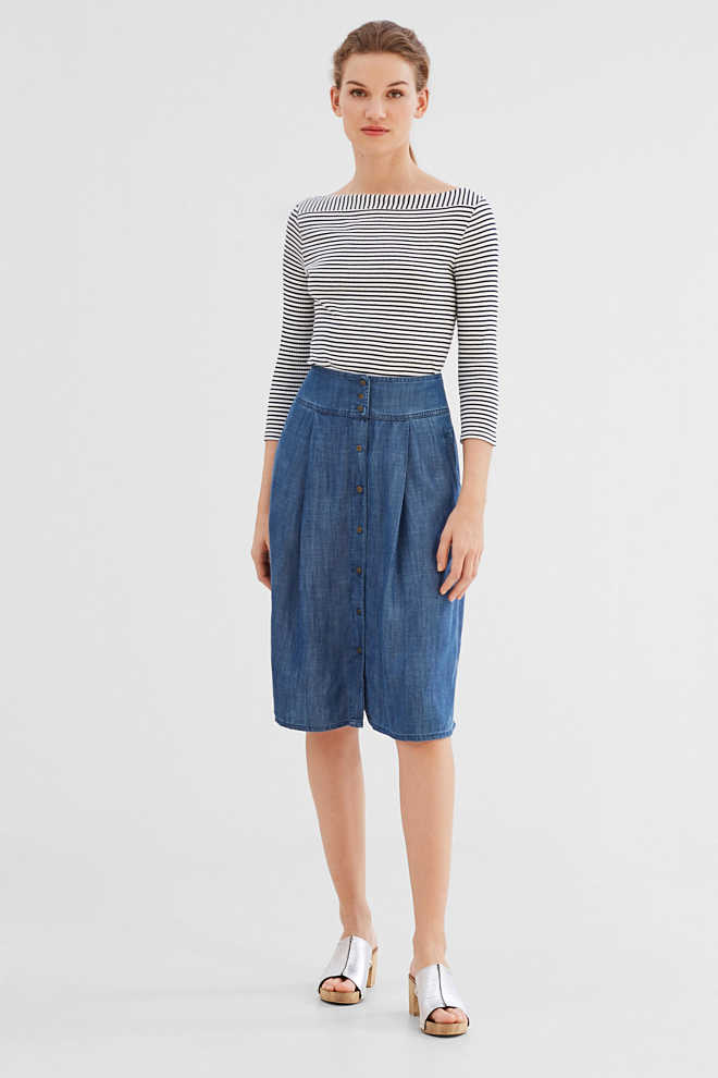 esprit flowing denim look midi skirt at our shop