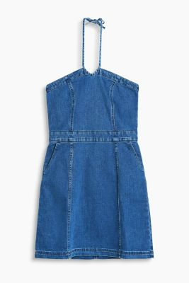 Neckholder-Kleid aus Stretch-Denim