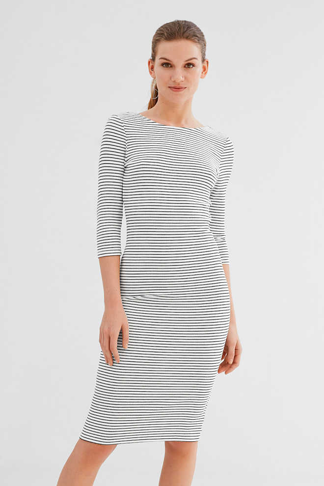 Esprit / Stretchy jersey dress with a back neckline