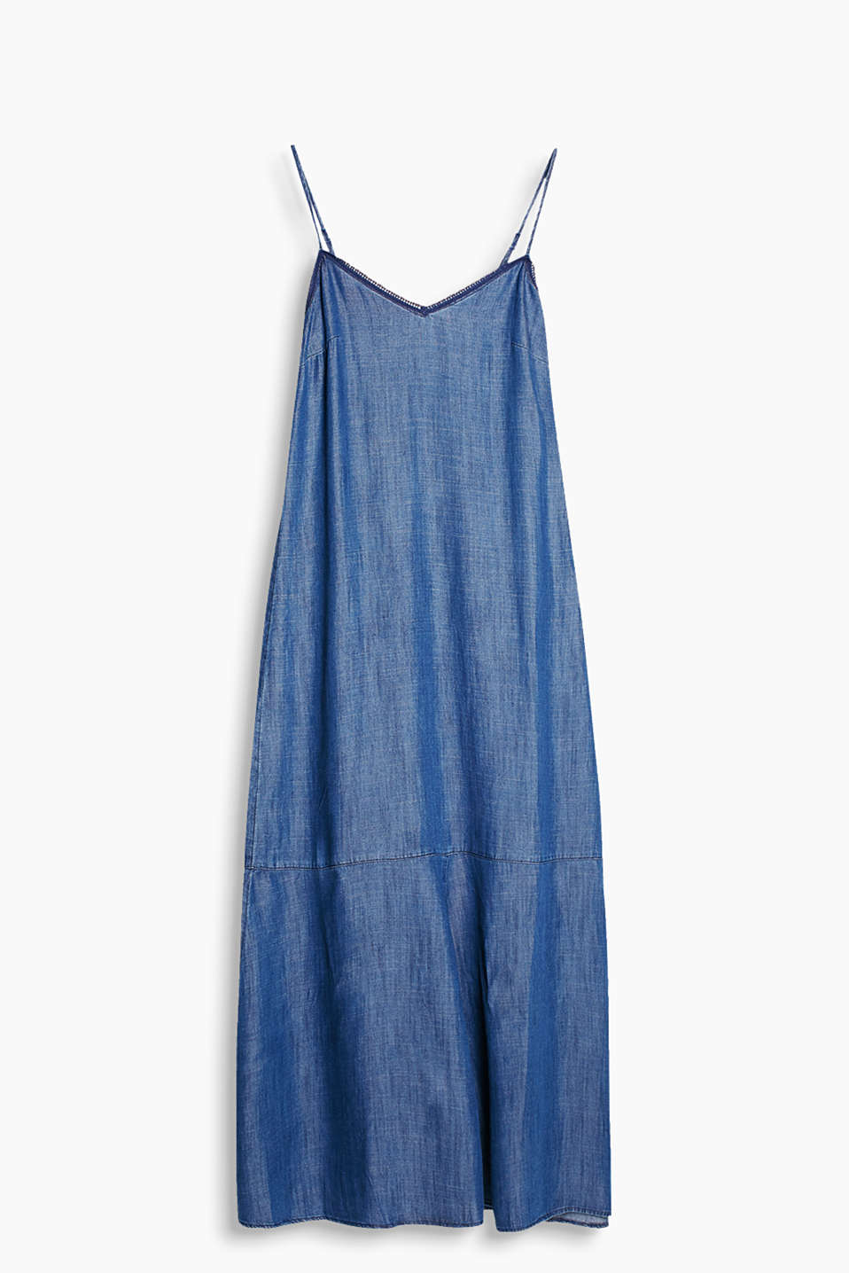 Maxi dress with adjustable spaghetti straps made of fluid, denim-effect fabric