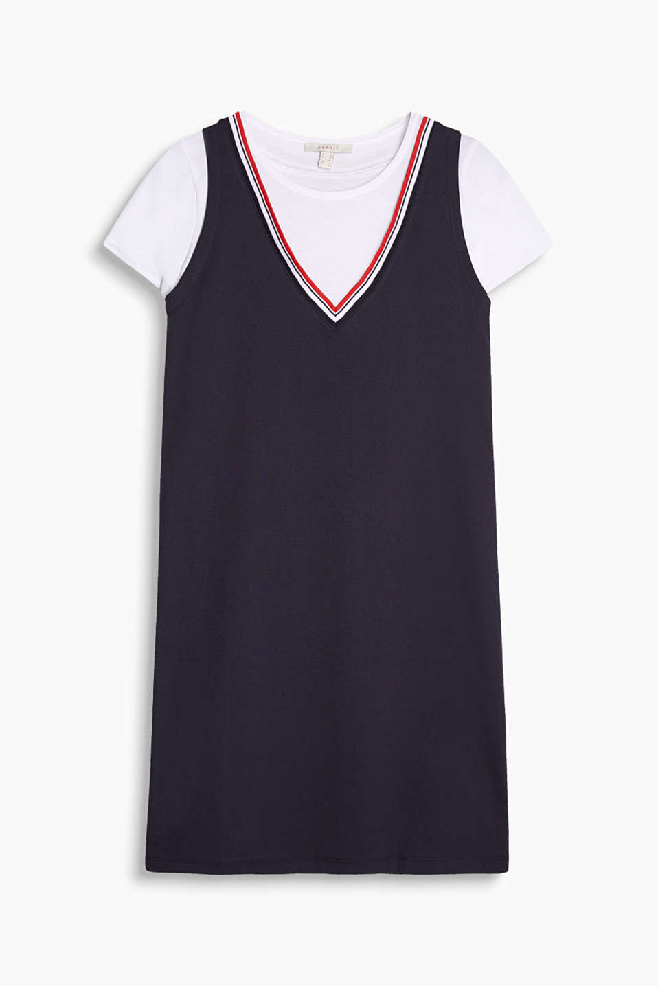 Fitted jersey dress in a tennis look with an integrated T-shirt element and a highlighted V-neckline