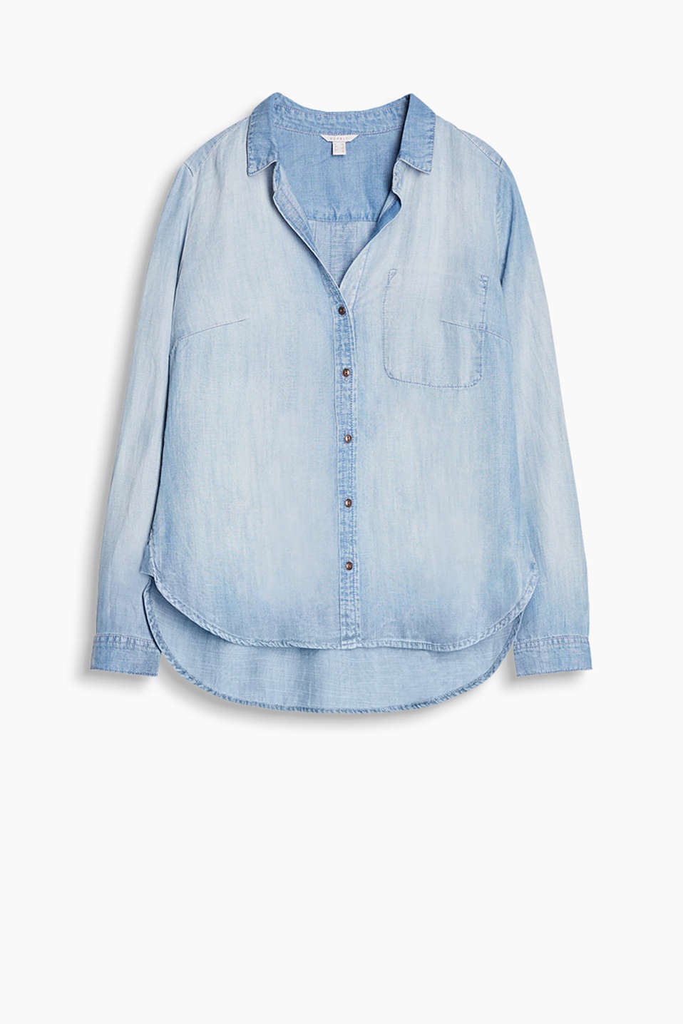Fließende Bluse in verwaschenem Denim-Look