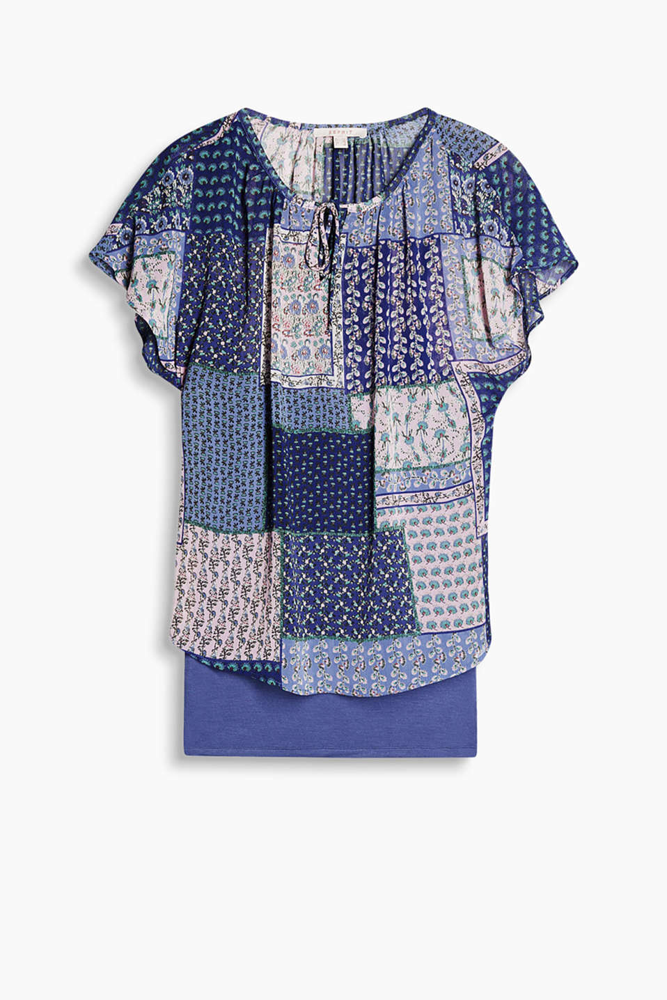 Sheer chiffon blouse with a patchwork print and integrated spaghetti strap top, which can also be worn separately