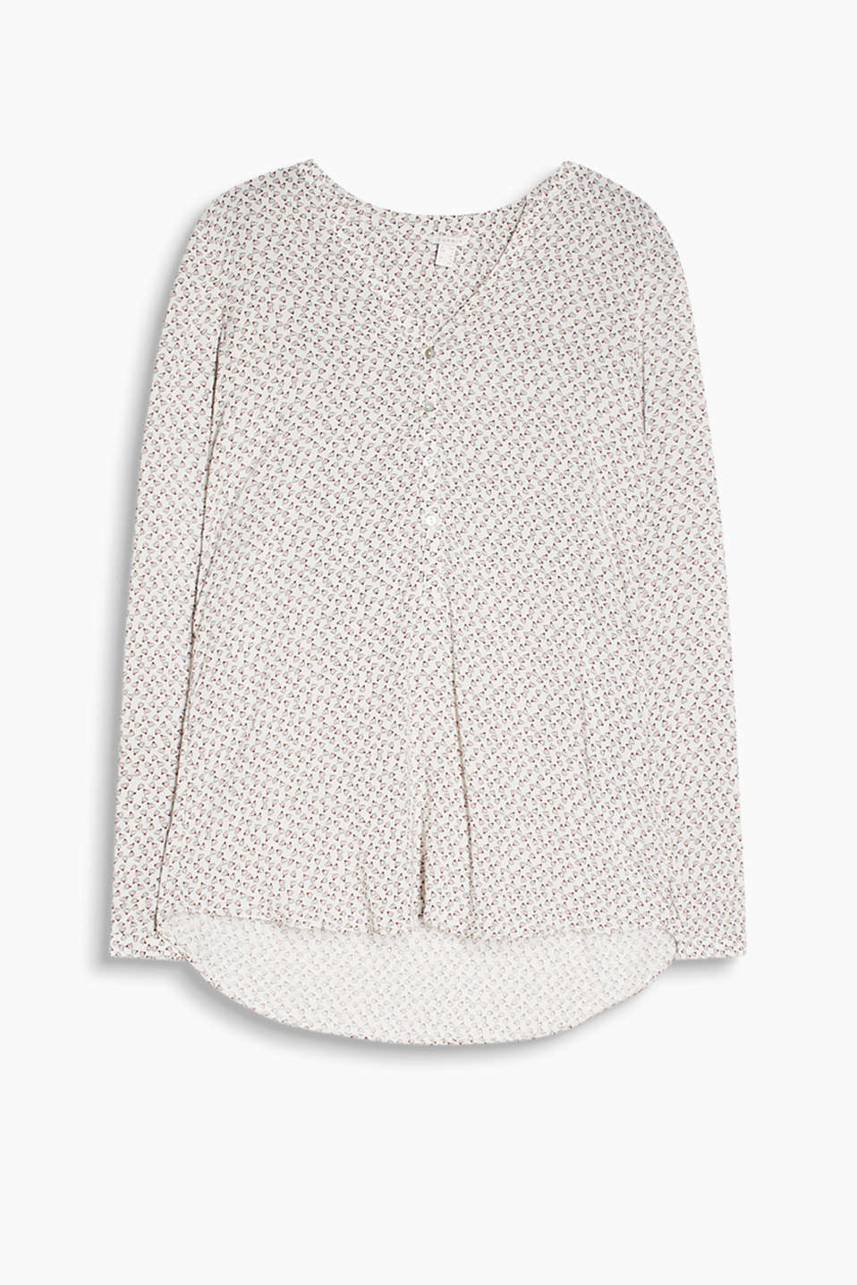 Henley-style blouse with turn-up sleeves made of 100% cotton