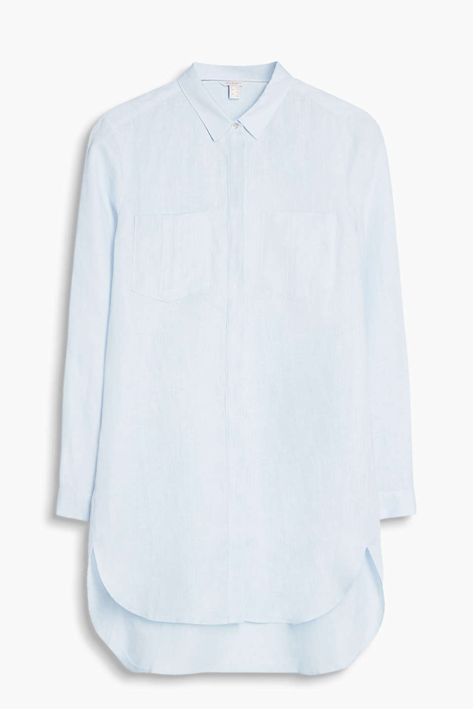 Long blouse with patch breast pockets and a concealed button placket, 100% linen