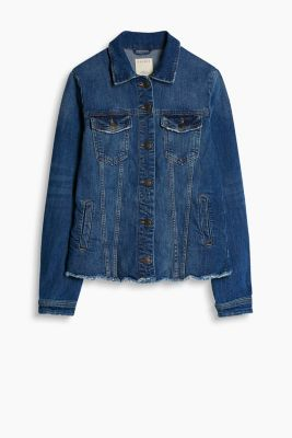 Veste en jean stretch à franges