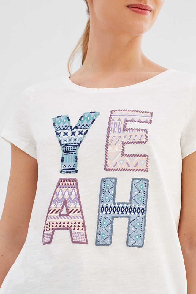 Esprit / T-shirt with front print, 100% cotton