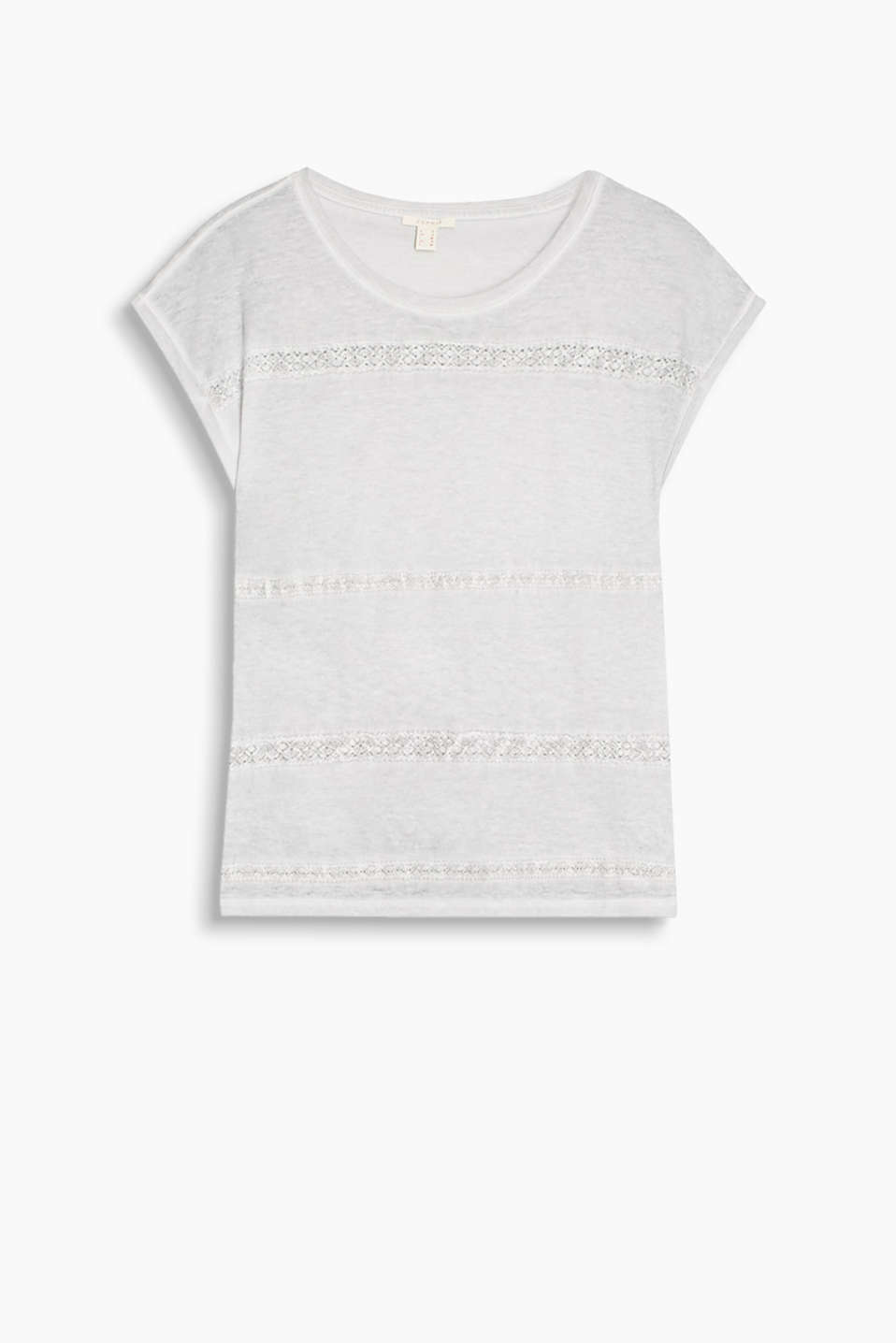 Cool linen blend T-shirt in a trendy wash with appliquéd lace trims